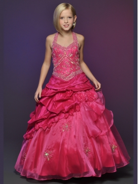 Discount 2012 Wonderful Red Ball gown Halter top neck Floor-length Flower Girl Dresses Style 563