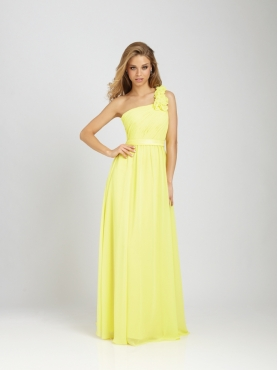 Discount Empire One-shoulder Floor-length Bridesmaid Dress Style 1279
