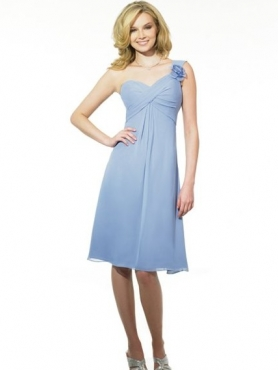 Discount One Shoulder Neck Knee-length Bridesmaid Dresses Style MT9013
