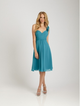 Discount Short One-shoulder Knee-length Bridesmaid Dress Style 1266