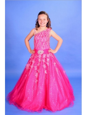 Discount A-line One Shoulder Long Hot Pink Little Girl Pageant Dress