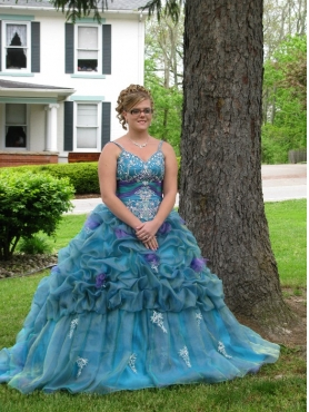 Discount Appliques Straps Blue Quinceanera Dress