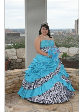 Discount Aqua Blue Strapless Beading Pick-ups Quinceanera Dress