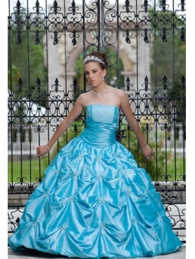 Discount Baby Blue Strapless Long Beading Quinceanera Dress