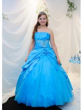 Discount Ball Gown Beading Strapless Blue Quinceanera Dress