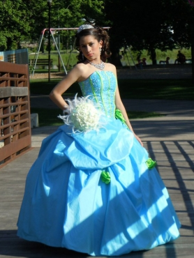 Discount Ball Gown Strapless Baby Blue Pick-ups Quinceanera Dress