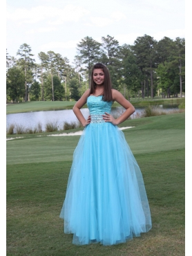 Discount Beading Aqua Blue A-line Sweetheart Prom Dres
