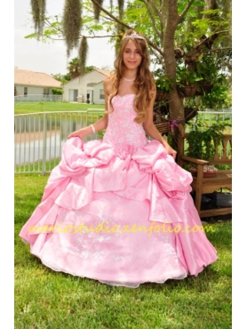 Discount Beading Pink Long Sweetheart Quinceanera Dress