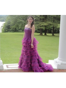 Discount Beautiful Fuchsia Beading Ruffled Layers Prom Dress