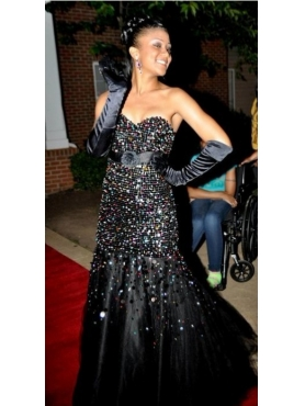Discount Black Beading Sweetheart Prom Evening Dress