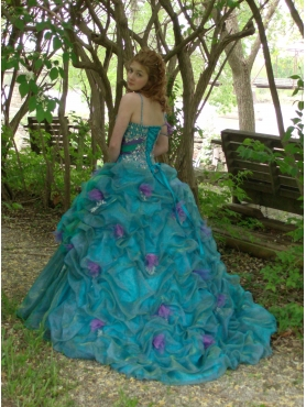 Discount Blue Spaghetti Straps Pick-ups Beading Quinceanera Dress