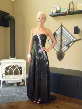 Discount Column Black Sweetheart Rhinestone Prom Evening Dress