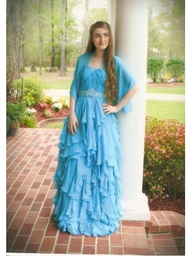 Discount Column Ruffles Baby Blue Ruffles Prom Dress