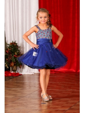 Discount Cute Beading  Straps Organza Little Girl Pageant Dress