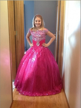 Discount Cute Hot Pink Beading Little Girl Pageant Dress