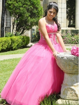 Discount Exquisite Ball Gown Rose Pink Strapless Quinceanera Dress