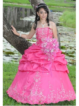 Discount Gorgeous Hot Pink Strapless AppliquesQuinceanera Dress