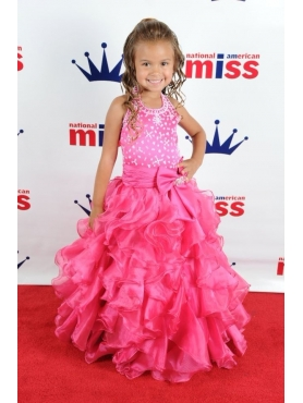 Discount Lovely Ball Gown Halter Ruffles Beading Little Girl Pageant dress