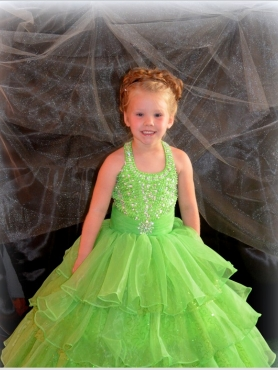 Discount Lovely Square Organza Beading Little Girl Pageant Dress