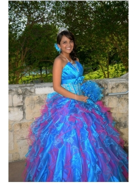 Discount Luxurious Multi-color Strapless Ruffles Appliques Quinceanera Dress
