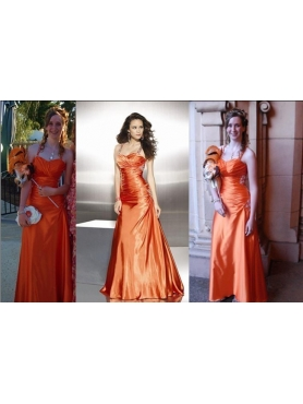 Discount Orange Red Column Straps Prom Dress