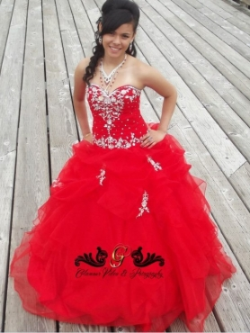 Discount Perfect Red Beading Sweetheart 2013 Quinceanera Dress