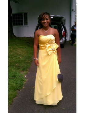 Discount Plus Size Column Yellow Strapless Bridesmaid Dress