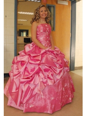 Discount Pretty Strapless Hot Pink Long Quinceanera Dress