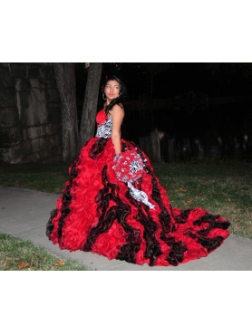 Discount Red and Black Sweetheart Ruffles Beading Quinceanera Dress