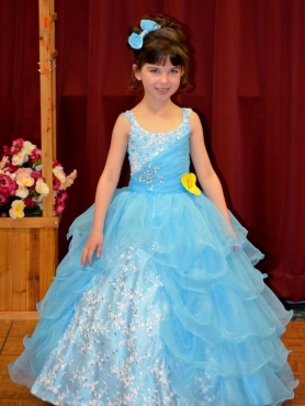 Discount Scoop Beading Aqua Blue Little Girl Pageant Dress