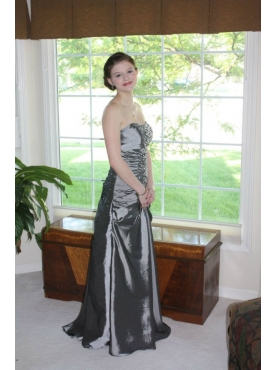 Discount Sliver Column Beading Long Prom Dresses