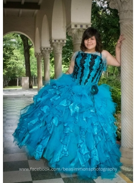 Discount Teal Ruffles Ball Gown Appliques Quinceanera Dress
