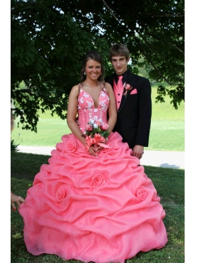 Discount Watermelon Red Straps Pick-ups Appliques Quinceanera Dress