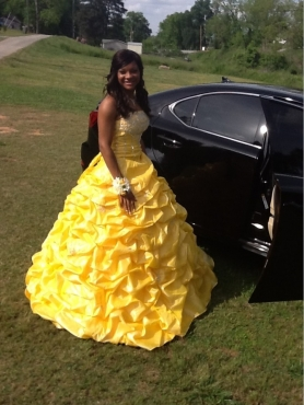 Discount Yellow Pick-ups Beading Quinceanera Dress
