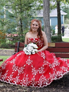 Discount Appliques Strapless Red Quinceanera Dress