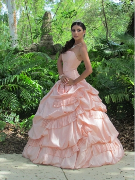 Discount Baby Pink Strapless Pick-ups Quinceanera Dress
