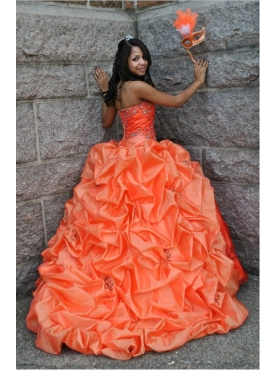 Discount Beading Sweetheart Orange Quinceanera Dress