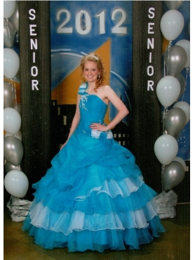 Discount Blue One Shoulder Ruffled Layers Quinceanera Dress