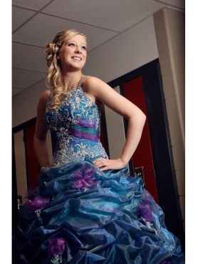 Discount Brush Train Beading Straps Teal Quinceanera Dress