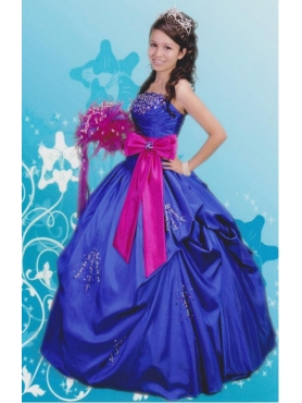 Discount Luxurious Ball Gown Blue Strapless Quinceanera Dress