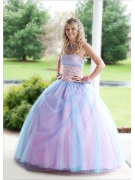 Discount Multi-color Strapless Beading Tulle Quinceanera Dress