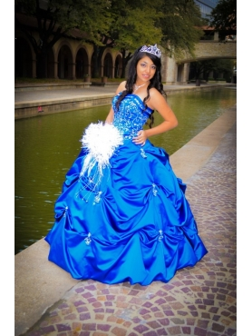 Discount Pick-ups Ball Gown Appliques Blue Quinceanera Dress