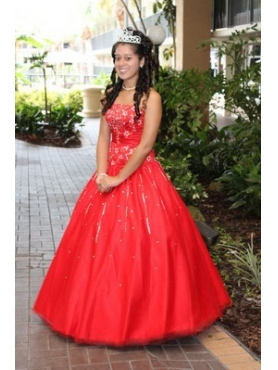 Discount Red Strapless Appliques Quinceanera Dress