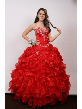 Discount Ruffles Sweetheart Red Long Quinceanera Dress