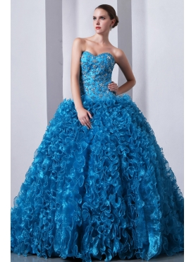 Discount Blue A-Line / Princess Sweetheart Beading and Ruffles Quinceanea Dress