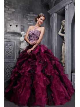 Discount Burgundy Ball Gown Sweetheart Zebra and Organza Ruffles and Beading Quinceanera Dress