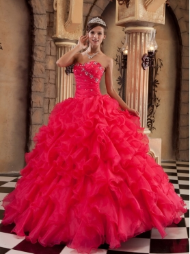 Discount Coral Red Ball Gown Sweetheart Floor-length Ruffles Organza Quinceanera Dress