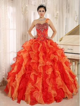 Discount Custom Made Orange Red One Shoulder Beaded Decorate  Ruffles Mendoza Quinceanera Dress In Spring