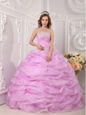 Discount Exclusive Ball Gown Strapless Floor-length Organza Appliques Rose Pink Quinceanera Dress