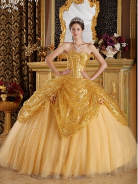 Discount Gold Ball Gown Sweetheart Floor-length Sequined and Tulle Handle Flowers Quinceanera Dress